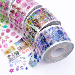 8 rolos flor folha de prego set 3.8 * 120 m transparente mix cor de transferência adesivo set manicure nail art decalques decoração kit sa690