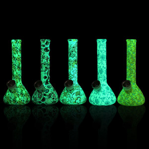 "7.4""Glow in the dark Silicone Pipe Color printing pattern Smoking Pipe hot water hose pipe Silicone Dab Rigs Removable cleaning Bongs"