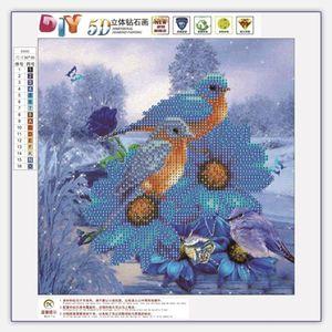 2 Oiseaux 5D DIY Diamant Rond Peinture Kits De Broderie Couture Ensemble de Point De Croix Mosaïque Art Artisanat Décor À La Maison Cadeau de Haute Qualité