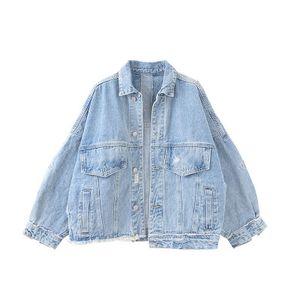 Women Fashion Hot Sell Hole Denim Jackets Casual Lapel Neck Short Coats Patchwork Vintage Female Street Jackets