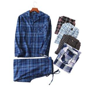 Primavera de venda quente 100% algodão penteados conjuntos de Pijama Homens Moda Xadrez mais tamanho pijamas homens pijama pijamas sexy hombres homewear Y200422