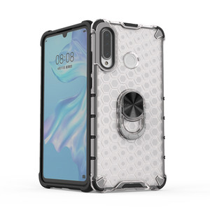 Honeycomb Phone Case with Ring Holder Clear Case Transparent Cover with Kickstand TPU Skin Protective Bumper for Huawei P30 Lite