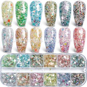 12 Laser Color Hexágono Glitter Gel Nail Polish Pó lantejoulas Paillette Irregular Chameleon Forma Para Nail Art Decoração