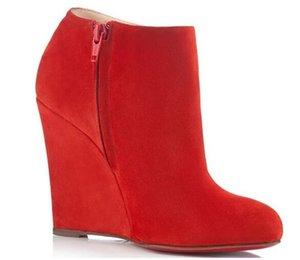 Clássico Designer Belle Zeppa Botas para mulheres Red inferior Designer Bota de Luxo Winter Fashion Sapatinho Suede Leather Bottes Femme