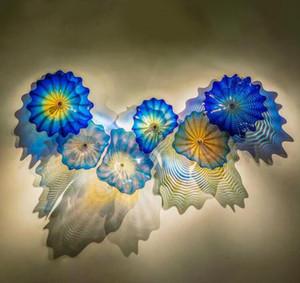 الزرقاء الزجاج الملون مصابيح الحائط الفن الديكور يدوية الجدار الزجاجي الإضاءة المستخلص زجاج مورانو زهرة الجدار الاضواء شحن مجاني