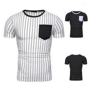 Casual tee-shirts ras du cou à manches courtes T-shirts Vêtements pour hommes Mens Designer rayé lambrissé T-shirts mode de poche couleur naturelle