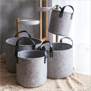 Felt Laundry Storage Basket Totes Dity Clothes Storage Bags Home Sundries Storage Barrel Portable Bin Hamper Box Kids Toys Organizer C6783