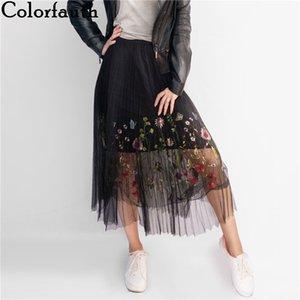Colorfaith 2017 Novo Puff Mulheres Malha Tule Saia Longa Moda Vintage Floral Bordado Plissado Elegante Feminina Saias Tutu Sp043 S416