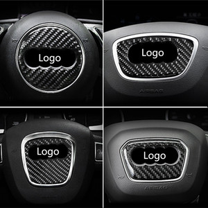 Para Audi A1 A3 A4 A5 A6 A7 A8 S3 S4 S5 S6 S7 Q3 Q5 Q7 TT fibra de carbono volante anillo Emblema 3D pegatinas de coches que labra los accesorios Auto