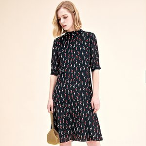 black sketch floral silk dresses women 2020 summer long casual office work beach party dress plus size fashion slim dropship