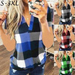 Las mujeres ocasionales del verano ponen en tela escocesa túnica corta Tops básica floja de la blusa con cuello en V camiseta más el tamaño S-3XL