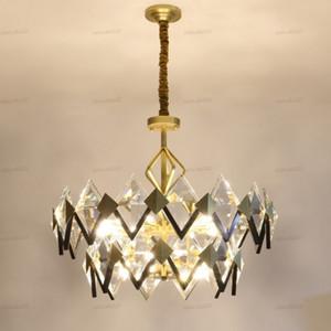Moderna Minimalista LED Lighting lampadario di cristallo di rame di lusso Lving Camera Chandelier Nordic Ristorante decorazione della casa Lampade LLFA
