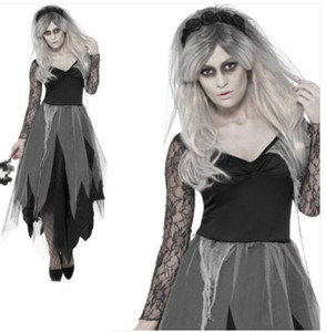 Witch Black Ghost Bride Kostüm Horror Königin Gothic Corpse Bride Cosplay Kleid weiblicher Vampir Scary Tag der Toten Haloween