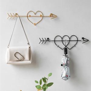 Gancho Metal nórdico de oro en forma de corazón creativo ganchos de pared para colgar la ropa puerta del dormitorio Decoración clave bolso de colgar Bastidores