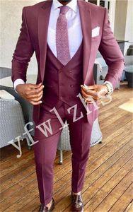Handsome One Button Groomsmen Groom Tuxedos Mens Wedding Dress Man Jacket Blazer Prom Dinner suits (Jacket+Pants+Tie+Vest) W187