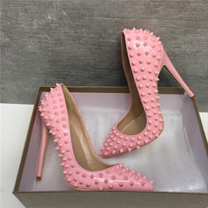 plus size 33-46 pacote origem brilhantes vermelhos sapatos de fundo de ouro rebites picos desiger saltos altos de couro genuíno salto agulha pontiaguda