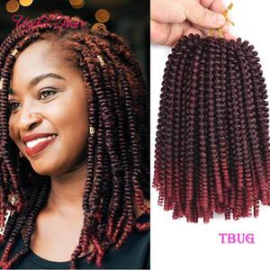 tres tonos extensiones de trenzas giro primavera ganchillo pelo ombre rizo rubio hinchable con extensiones de cabello pre Tiwsted Xpression trenzar el pelo