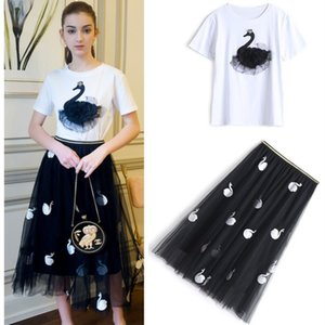 New  Runway Women's Elegant Swan Appliques Beadings Cotton Tees Tops And Embroidery Skirts Two-piece Skirt Suits NS294
