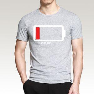 Summer 2020 T-shirt Batteries Help Me funny T shirts men's T-shirts Harajuku Fitness T shirt Men Tops