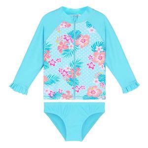BAOHULU Print Cyan Baby Swimwear Long Sleeve Girls Swimsuit Kids UPF50+ Two pices Swimming Suits Child Toddler Girl Rash Guards