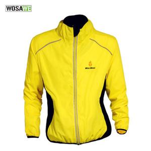 WOSAWE Yansıtıcı Su geçirmez Bisiklet Bisiklet Bisiklet Jersey Döngüsü Yağmur Rüzgar Coat Windcoat Windproof Hızlı Kuru Ceket Sarı