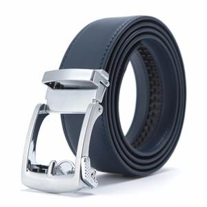 Nuevo diseñador Popular Cinturón de cuero de cuero de vaca de los hombres Azul marrón Hebilla automática Cintura del vientre Cinturones de negocios ocasionales para hombres
