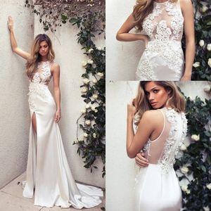 Lace Wedding Dresses 2020 Sexy Side Split Sheer Illusion Princess Mermaid Bridal Gowns Vestido de novia