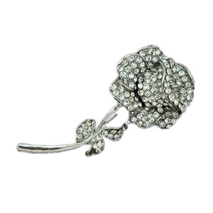 Rhodium Silver Clear Strass Crystal Rose Blumenbrosche