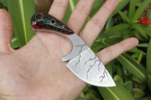 Мелкий кухонный нож 9Cr18Mov Коррозия Pattern Finish Sharp точка лезвия Full Tang Handle фиксированным лезвием Фруктовые ножи с Kydex