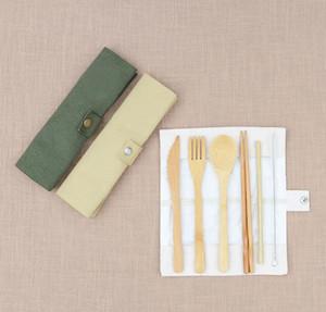 Vajillas conjunto de madera de bambú cucharadita de sopa Tenedor Cuchillo Catering Cubiertos con bolsa de tela al aire libre viajar vajilla portable