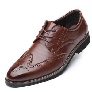 37 ~ 48 Plus Size Hommes Lace Up Derby Brogue Chaussures Homme Pointu Robe Toe Weddings Chaussures formelle Bureau d'affaires Costume de chaussures en cuir