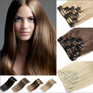 Brown straight clip in extensions full head ponytail hair like human longht 20inch