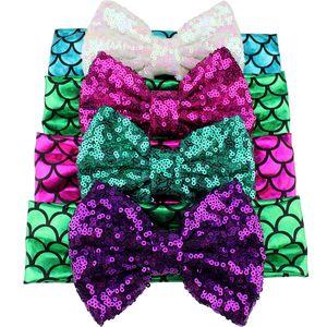 Neonate Paillettes Hairband 5 pollici Mermaid Archi doratura del boutique della fascia bambini Bow Fasce infantile copricapo Accessori Bambino 060.522