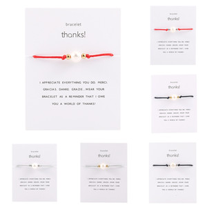Free Shipping Genuine Thanks Thank Card Bracelet Hand Rope Hand Decorate Stainless Steel Bead Pearl Manual Weave Bracelet Anklet Wedding