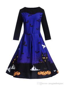 Цветочный принт платья Halloween Crew Neck с длинным рукавом Женщины Одежда Мода Стиль Зима Повседневная одежда Womens Фестиваль Designr