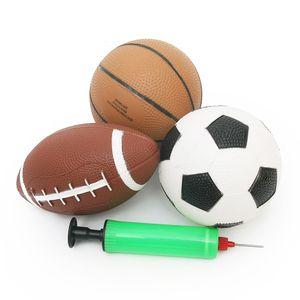 Los juguetes de los niños al aire libre 3pcs Mini Baloncesto Fútbol Rugby inflable del deporte bolas de goma de seguridad no tóxico juegos de patio para bebés