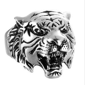 Tiger Head Mens Rings - خواتم الخطبة الفولاذ المقاوم للصدأ للرجال - (الولايات المتحدة الحجم 8-13) الشرير كول HipHop الحيوان الدائري مجوهرات