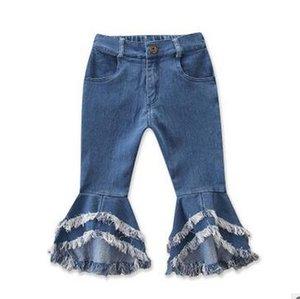 Ins Meninas de cintura alta Alargamento Jeans moda borlas de perna larga Denim Trousers menina emendado de Bell Bottoms Skinny Jeans calças largas Leg Pant ZYQ333