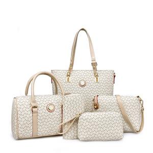 핑크 sugao 디자이너 핸드백 여성 가방 5PCS 토트 설정 / 고품질 PU 가죽 핸드백 패션 가방 메신저 크로스 바디 어깨 가방