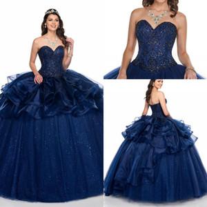 2020 azuis marinhos elegante Ruffles Organza Prom Quinceanera Vestidos Lace-up Backless cristal Beads vestido de baile doce 16 Vestido Vestiods De Novia