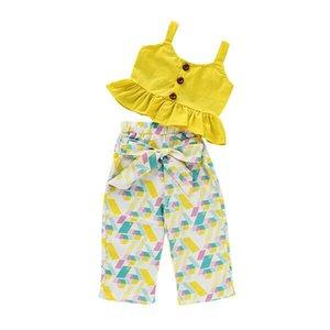 Лето Pudcoco Детей Девочка Одежда Set Solid Yellow рукава Crop Tops Лук Брюки 2Pcs Нижнее Хлопок Повседневные Наборы