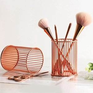 Metal Storage Basket Rose Gold Pen Holder Desktop Storage Basket Makeup Brush Eyebrow Stationery Organizer
