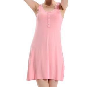 2019 Yeni Varış Kadın Katı Kolsuz Ince Sleepshirts Yuvarlak Boyun Bayanlar Yaz Ince Düğme Mini Nightgowns