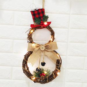 Hot New Christmas Wreath Halloween LED Hanging Decoração Household Rattan Wreath Recados Porta Farmhouse Decor