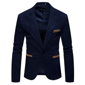 Col en V manches longues pour hommes Corduroy seul bouton Blazer Mode solide Couleur Hommes Costumes Veste Homme Printemps Apparel