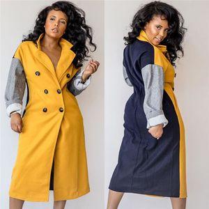Bayan Bayan Tasarımcı Panelli Karışımları Moda Bayanlar Boyun Ile Kruvaze Yaka Kış Rahat Uzun Giyim Coat CSCBQ