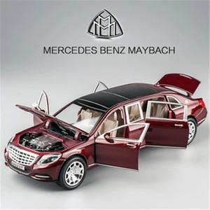 1/24 Maybach S600 Modelo de Coche de Metal Diecast Aleación Modelos de Coche de Alta Simulación 6 Puertas Se Puede Abrir Inercia Juguetes Para Niños Difts J190525