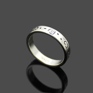 Европа Америка повелительница 925 серебряный высекать Скелет Череп Pattern G Письмо Wedding Engagement Узкие кольца Size6-9