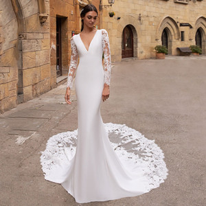 2020 Vestido de noiva Long Sleeves Wedding Dresses Mermaid V Neck Lace Appliques Wedding Gowns Backless Bridal Dress Turkey