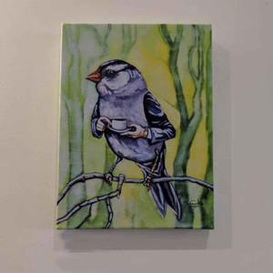 OLD SAM PEABOBY NIMMT TEA Handpainted HD gedruckte Zusammenfassung Vögel Wand-Kunst-Ölgemälde auf Leinwand Multi Größen Rahmenoptionen 200315